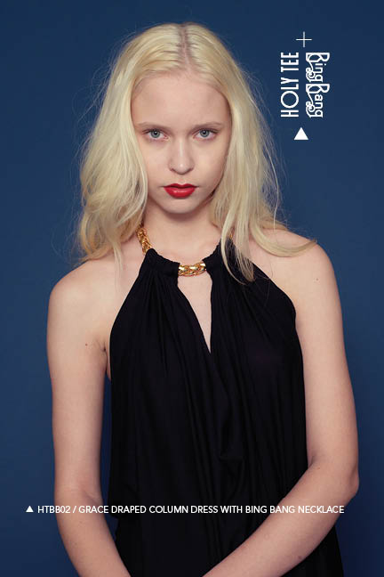Holy Tee Fall 2011 Collection - HTBB02 / Grace Draped Column Dress With Bing Bang Necklace (close-up)