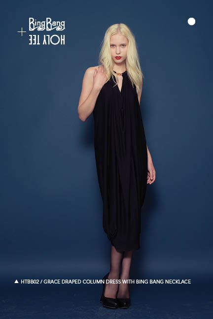 Holy Tee Fall 2011 Collection - HTBB02 / Grace Draped Column Dress With Bing Bang Necklace (full length)