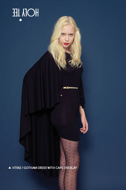 Holy Tee Fall 2011 Collection - HT042 / Gotham Dress With Cape Overlay (side)