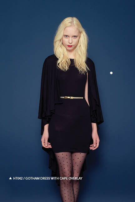 Holy Tee Fall 2011 Collection - HT042 / Gotham Dress With Cape Overlay (front)