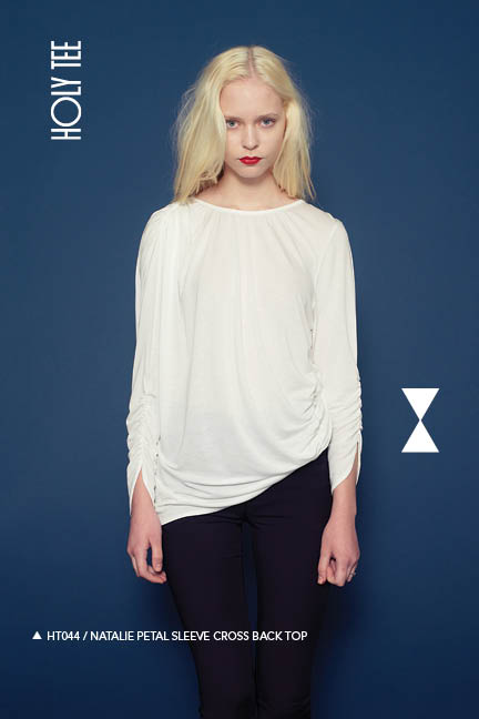 Holy Tee Fall 2011 Collection - HT044 / Natalie Petal Sleeve Cross Back Top (front)