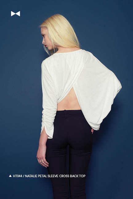 Holy Tee Fall 2011 Collection - HT044 / Natalie Petal Sleeve Cross Back Top (back)