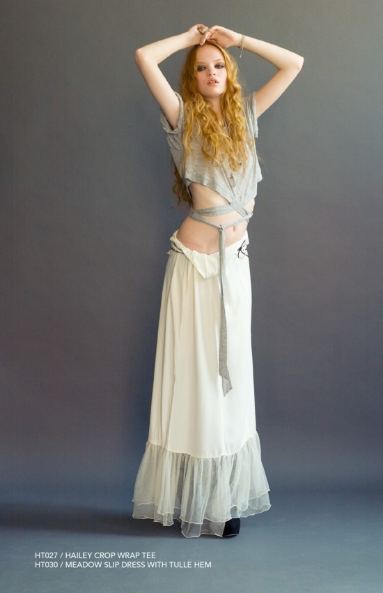 Holy Tee Spring 2011 Collection - HT027 / Hailey Crop Wrap Tee with HT030 / Meadow Slip Dress With Tulle Hem