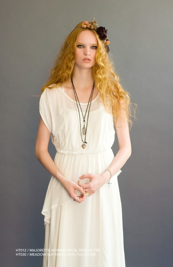 Holy Tee Spring 2011 Collection - HT012 / Majorette Asymmetrical Peplum Tee with HT030 / Meadow Slip Dress With Tulle Hem