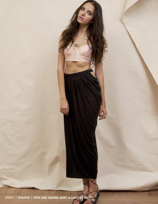 Holy Tee Spring 2012 Collection - HT071 / Shadow / Open Side Draped Skirt w Leather Belt