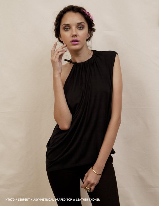 Holy Tee Spring 2012 Collection - HT070 / Serpent / Asymmetrical Draped Top w Leather Choker