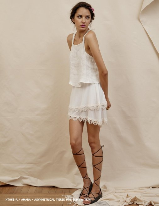 Holy Tee Spring 2012 Collection - HT068-A / Amara / Asymmetrical Tiered Mini Skirt w Trim