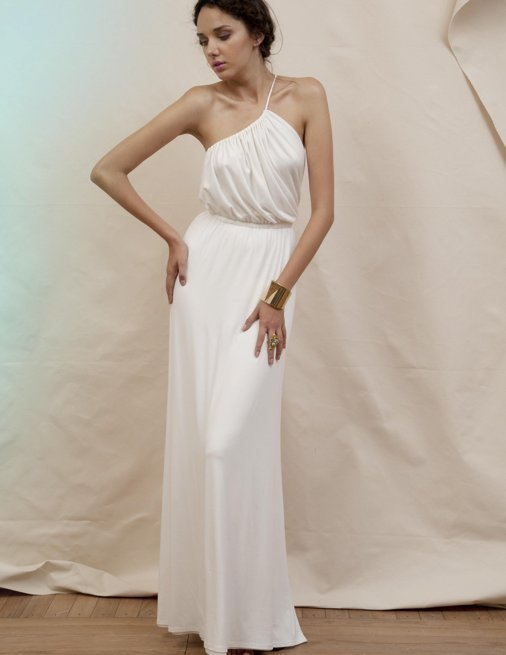 Holy Tee Spring 2012 Collection - HT081 / Gia / Tie Strap Draped Bodice Gown (Front)