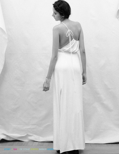 Holy Tee Spring 2012 Collection - HT081 / Gia / Tie Strap Draped Bodice Gown (editorial / Back)