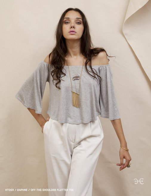 Holy Tee Spring 2012 Collection - HT069 / DAPHNE / Off-the-Shoulder Flutter Tee